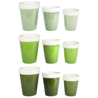 Green flower pot set/3 3/ass.
