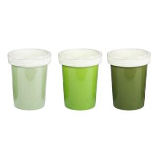 Green long tom flower pot 3ass.