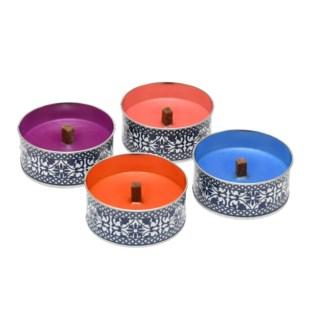 Portuguese garden candle in tin 4/ass.