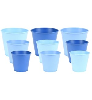 Blue flowerpot zinc set/3 ass