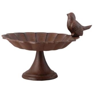 Birdbath on foot cast iron 1 bird. Cast iron. 19,2x16,3x13,9cm. oq/8,mc/8 Pg.17