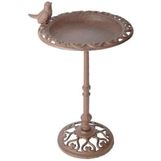 Birdbath on pole 39cm. Cast iron. 22,5x22,5x38,5cm. oq/4,mc/4 Pg.17