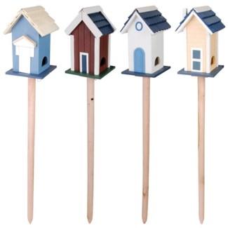 Bird villa on pole. plywood. 17,5x17,2x114,0cm/18,0x17,3x116,5cm/17,9x17,4x114,5cm/18,2x17,5x114,5c