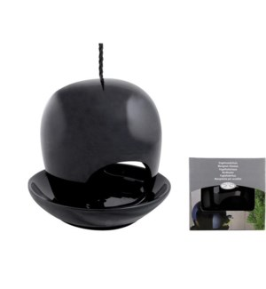 Ceramic birdfeeder black. OS
