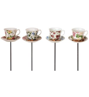 Tea cup with saucer on stick a
