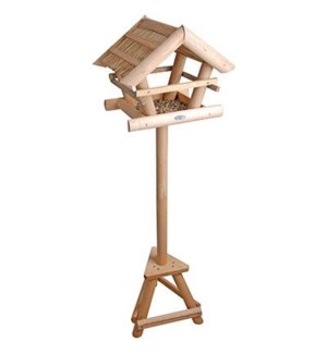 Thatched bird table on pole. P