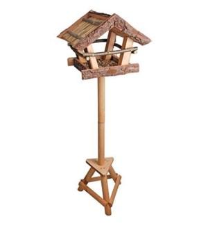 Bark bird table on pole. Pinew