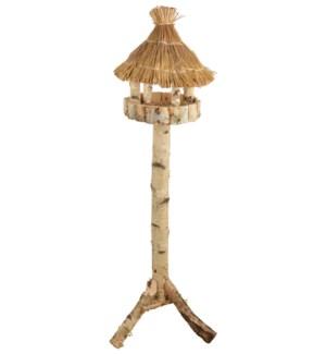 Birch bird table round on pole