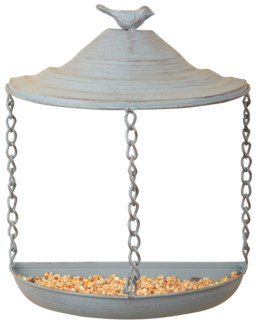 Grey Metal wall bird feeder - (8.9x4.5x10.3 inches)