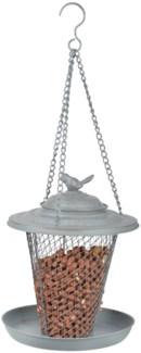 Grey Metal peanut feeder -  (8.9x8.9x10.6 inches)