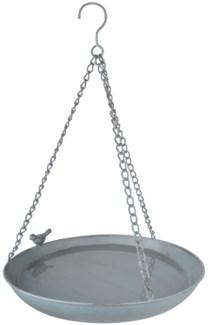 Grey Metal hanging bird bath - (12x12x2.3 inches)
