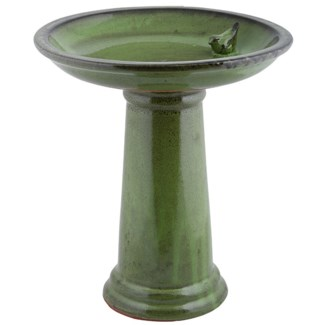 Birdbath on foot ceramic green, Ceramics - 16.5x16.5x18.5in.