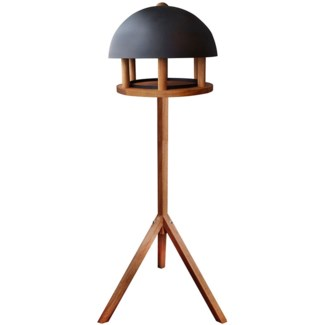 Bird table oak round black roof -  13.8x13.8x43.3in.