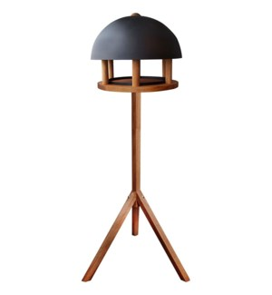 Bird table oak round black roo