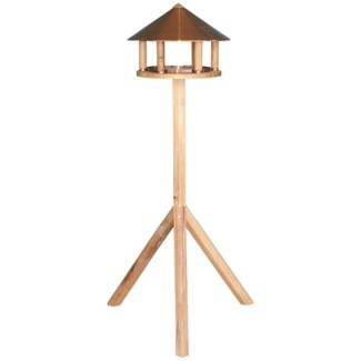 Bird table oak round copper roof -  15x15x43.3in.