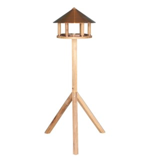 Bird table oak round copper ro