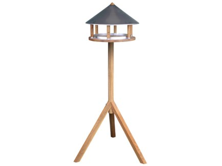 Bird table oak round zinc roof -  15x15x43.3in.