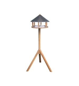 Bird table oak round zinc roof