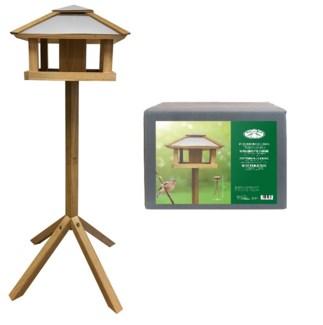 Bird table oak square with silo - 22.4x22.4x45.3in.