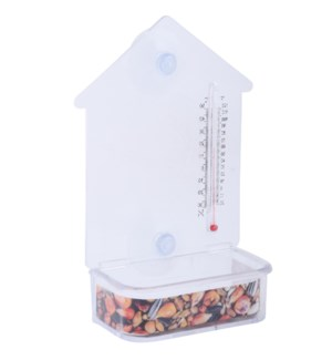 Window feeder with thermometer