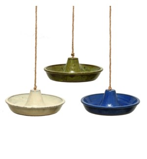Bird bath ceramic hanging round ass - (11.8x10.9x4 inch)