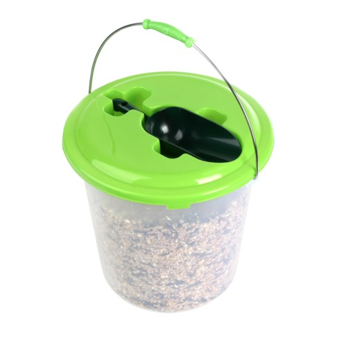 Seed bucket with birdfood and scoop