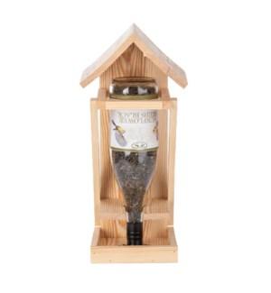 Wine bottle bird table