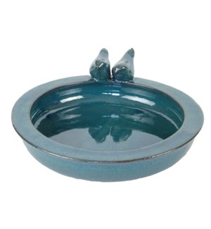 Bird bath ceramic round petrol