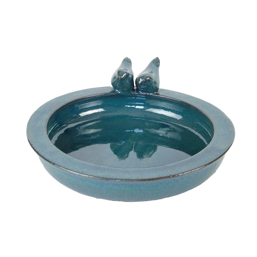 Bird bath ceramic round petrol