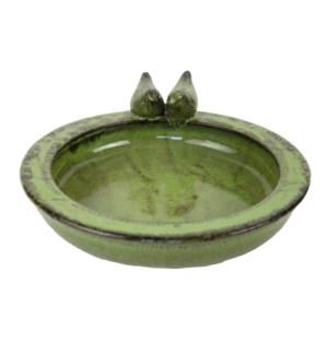 Bird bath ceramic round green