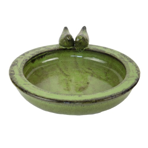 Bird bath ceramic round green