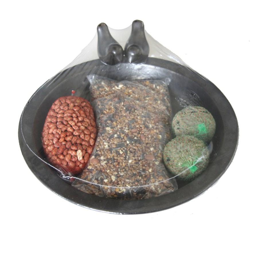 Bird bath ceramic round + bird food