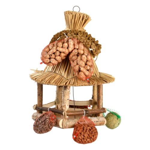 Hanging bird table straw incl. food