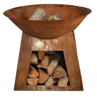 Firebowl + woodstorage S. Metal. 74,5x74,5x60,0cm. oq/2,mc/2 Pg.23