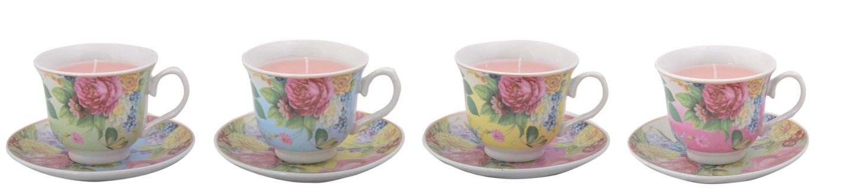Teacup with candle ass. Ceramics, wax. 14,0x14,0x8,4cm. oq/12,mc/12 Pg.31, 136