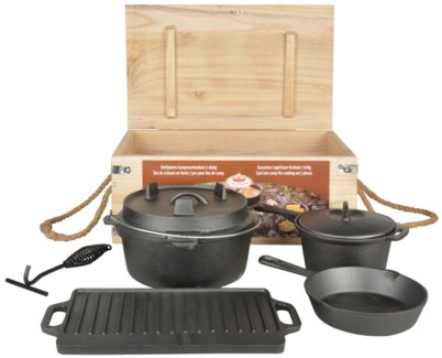 Dutch oven cookingset 7 pcs. Cast iron, paulownia wood, jute rope. 28,9x28,0x15,8cm/19,7x29,5x4,6cm