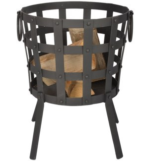 Reclaimed metal fire basket. R
