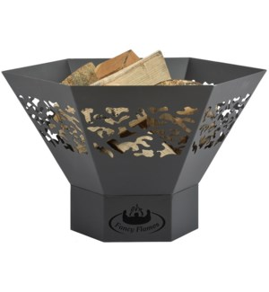 Hexagon fire bowl with laser c