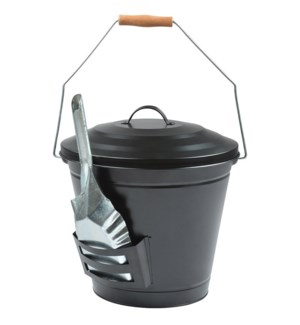 Ash bucket with shovel - 14.25x13.25x13.75 inches
