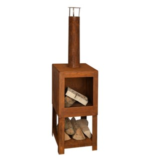 Terrace heater + woodstorage rust - 15.25x15.25x54 inches
