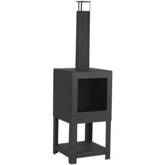 Terrace heater + woodstorage black - 15.25x15.25x54 inches