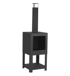 Terrace heater + woodstorage black - 15.25x15.25x54 inches