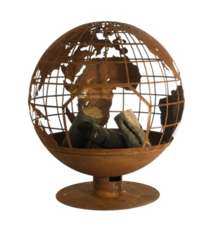 Fire ball laser cut rust globe