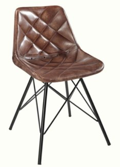 Quilted Leather Dining Chair, 16x16x32 Inches