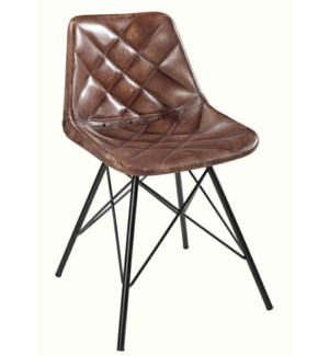 """""""Quilted Leather Dining Chair, 16x16x32 Inches"""""""