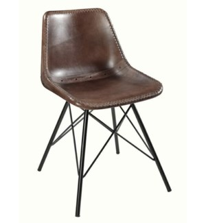Leather Dining Bucket Chair, 16x16x32 Inches