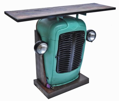Tractor Bar Console Table, Blue, Recycled Wood, 24x16x40 Inches