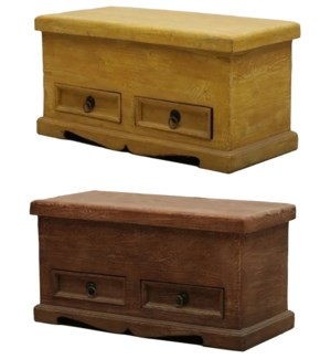 """""""Wooden Trunk Box With Drawers, 2 Assorted Color"""""""