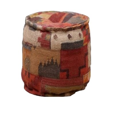 Boho Patchwork Rug Pouf, 16x16x16 Inches
