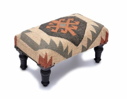 Kilim Rug Foot Stool, 20x12x10 Inches